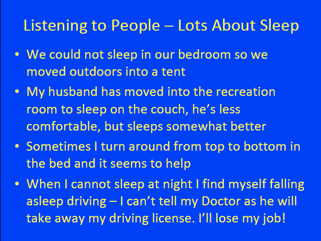 Listening to People - Lots About Sleep