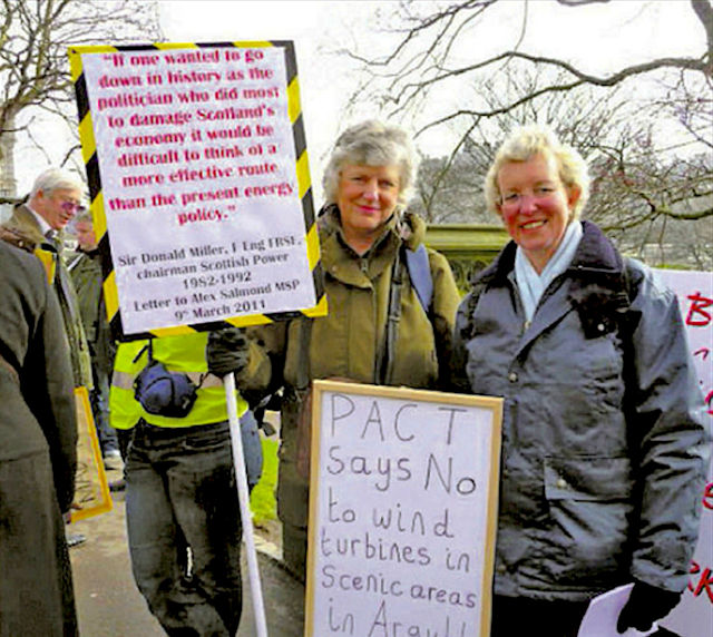 Christine Metcalfe and fellow wind farm campaigners.